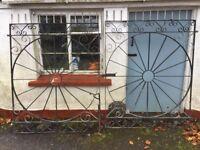 Antique iron driveway gates
