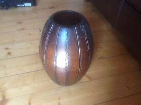 Stunning acacia wooden vase tall