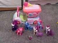 My little pony ice cream van plus 6 ponys and spike the dragon