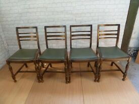 4 x Leather Base Ladder Back Kitchen Dining Table Chairs Delivery Available