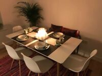 Hygena Beni dining table & four Eiffel chairs