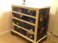 beautiful solid wood vintage chest of draws painted in clotted cream and decoupaged to high standard