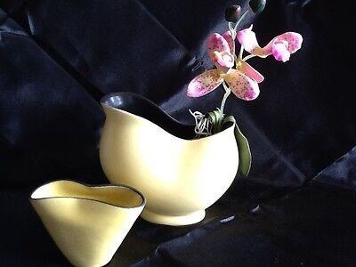 WAECHTERSBACH Keramik Vase gelb schwarz Taxis Ursula Fesca um 1958