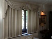 Curtains with swags and tails, blanket lined
