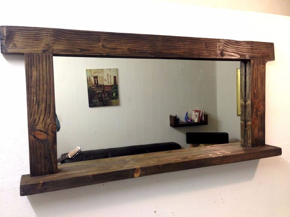 New large handmade wooden mirror with shelf 130cm x 85cm for Full length mirror with shelf
