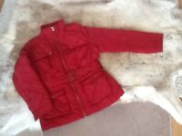 Red belted women's jacket size 14