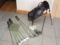 Junior half set of HIPPO clubs plus golf bag with legs and back carry straps,10 balls & tees-£20