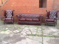 LEATHER CHESTERFIELD SUITE 3 SEATER SOFA 2 QUEEN ANNE WING BACK CHAIRS OXBLOOD RED LEATHER CAN DELIV