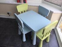 IKEA Blue Mammut Table & 2 x IKEA Mammut Chairs in Blue & Green