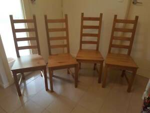 4 Ikea timber dining chairs