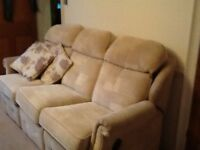 G plan 3 Seater reclining sofa and two chairs
