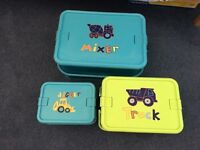 3 lovely Digger storage boxes by NEXT