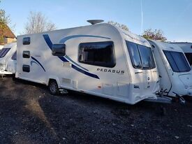 2012 Bailey Pegasus Ancona 6 berth caravan FIXED TRIPLE BUNK BEDS, MOTOR MOVER !