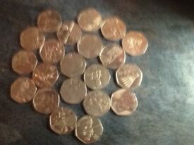 21. Assorted 2011 Olympic fifty pence coins. All good condition.