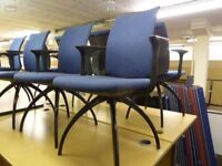 Blue Heg Design Chairs with Arms - Blue Cloth, great condition