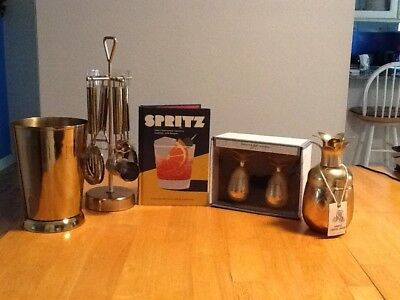 Lot Of 10 Bar Accesories Pineapple Cocktail Shaker,5pc Tool Set,2 Shot Glasses +