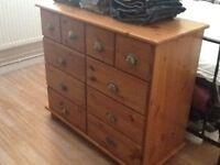10 drawer pine chest.