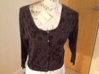 New with tags Benetton ladies 100% silk black cardigan size L.