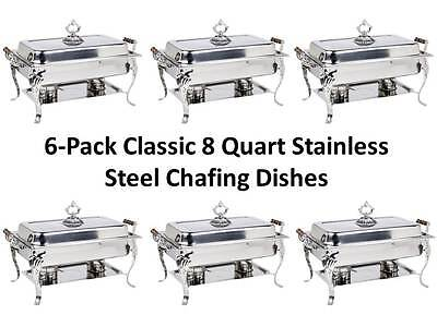 (6-Pack) NEW Choice Classic Rectangle 8 Qt. Full Size Stainless Steel (Stainless Steel Rectangle Chafer)