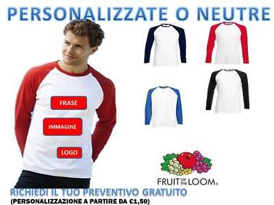 T SHIRT MAGLIETTA UOMO MANICA LUNGA BASEBALL FRUIT OF THE LOOM PERSONALIZZABILE