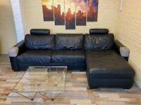 Compact Black Leather Corner Sofa Bed