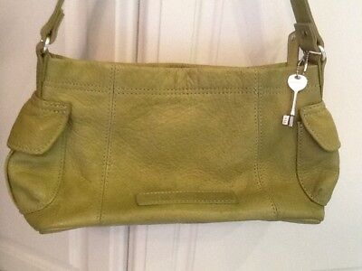 Fossil 1954 American Classic Lime Green Leather Satchel Shoulder Bag Purse EUC  American Classic Lime Green