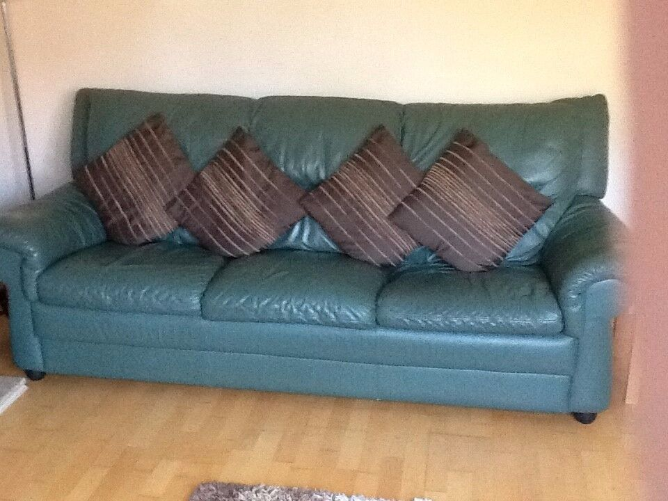 3 & 2 Seater Leather sofa's including footstool.