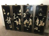 Stunning Unusual Set Of Four Oriental Mother Of Pearl And Black Lacquer Wall Placques