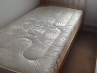 Solid pine 3ft bed with thick mattress