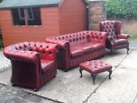 Antique red oxblood leather chesterfield 4 piece suite 3 seater 2 chairs 1 footstool can deliver