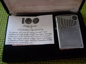 Ford Centenary Limited Edition Silver Inlay Zippo Lighter