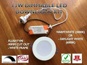 13W LED DOWNLGIHT KIT WHITE FRAME WARM/DAYLIGHT WHITE WHOLESALER Wetherill Park Fairfield Area Preview