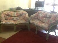 Two cane conservatory sofas (2 seater) With cushions Very comfortable 4ft wide, Telford