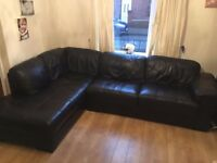 RRP £1799 Black Leather Large L Shaped Corner Sofa Couch Bargain Price For Quick Sale Leigh WN7