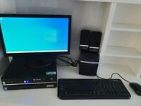 Desktop Intel pc with monitor, speaker system,