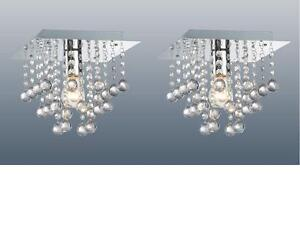 PAIR-OF-CHROME-SQUARE-FLUSH-FITTING-CHANDELIER-CEILING-LIGHTS-CRYSTAL-DROPLETS