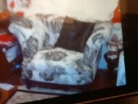 Three seater settee and large chair