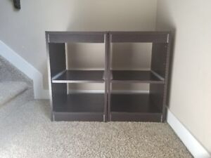 Two brown shelves