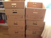 Strong cardboard storage boxes with lids and carrying holes