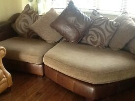Leather and fabric corner sofa hardly used