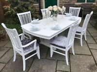 Dining Table & 6 Chairs ~ Extends ~ Seats 8 ~ SILVER GREY CRUSHED VELVET SEATS