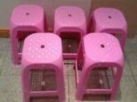 £10 th lot(5) or £3 each-pink plastic stools-I have 5 available