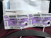 2 x 4 day standard camping tickets for creamfields need sold ASAP