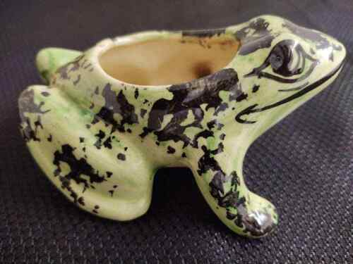 Vintage hand painted pottery frog planter; black/green.
