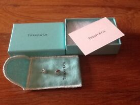 Tiffany signature silver earrings, genuine, preloved, as new, with original box and pouch