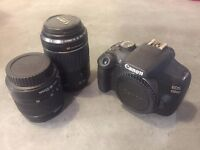 CANON EOS 1200D with 2 lenses 18-55 mm IS STM and EF 55-200 mm II USM