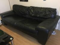 Black leather sofa used but good condition