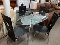 Oval glass / chrome dining table 4 black chairs LOW COST MOVES 2nd Hand Furniture STALYBRIDGE SK15