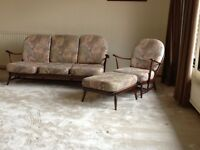 Windsor Ercol sofa, 2 armchairs and footstool excellent condition matching set. Original