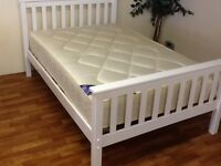 WHITE DOUBLE BED WITH ORTHO MATTRESS